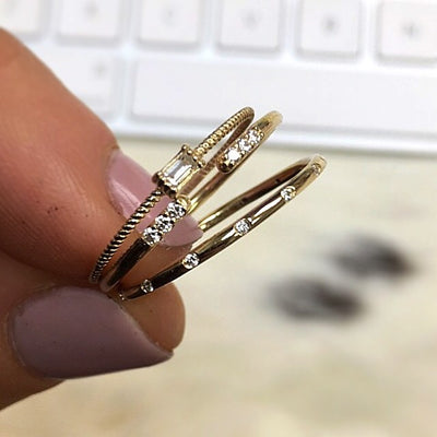 14kt Gold Diamond Birds of a Feather Stacking Ring *online exclusive*