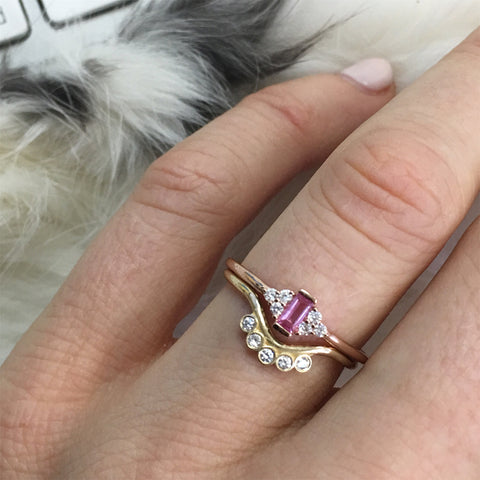 14kt Rose Gold Pink Tourmaline & Diamond Bisoux Ring