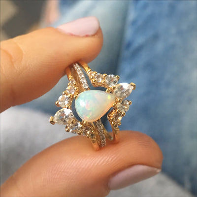 Opal and Topaz Angels Teardrop Ring