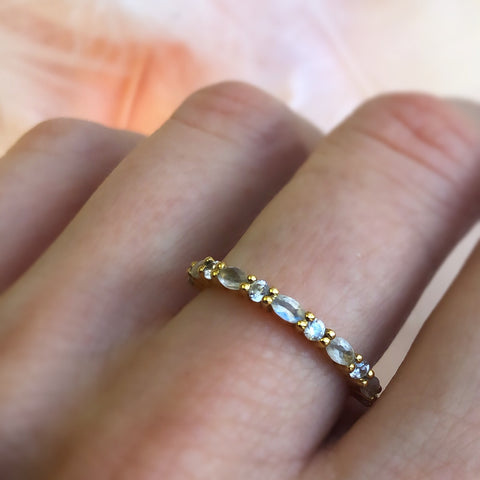 Rainbow Moonstone and Topaz Half Eternity Marquise Band