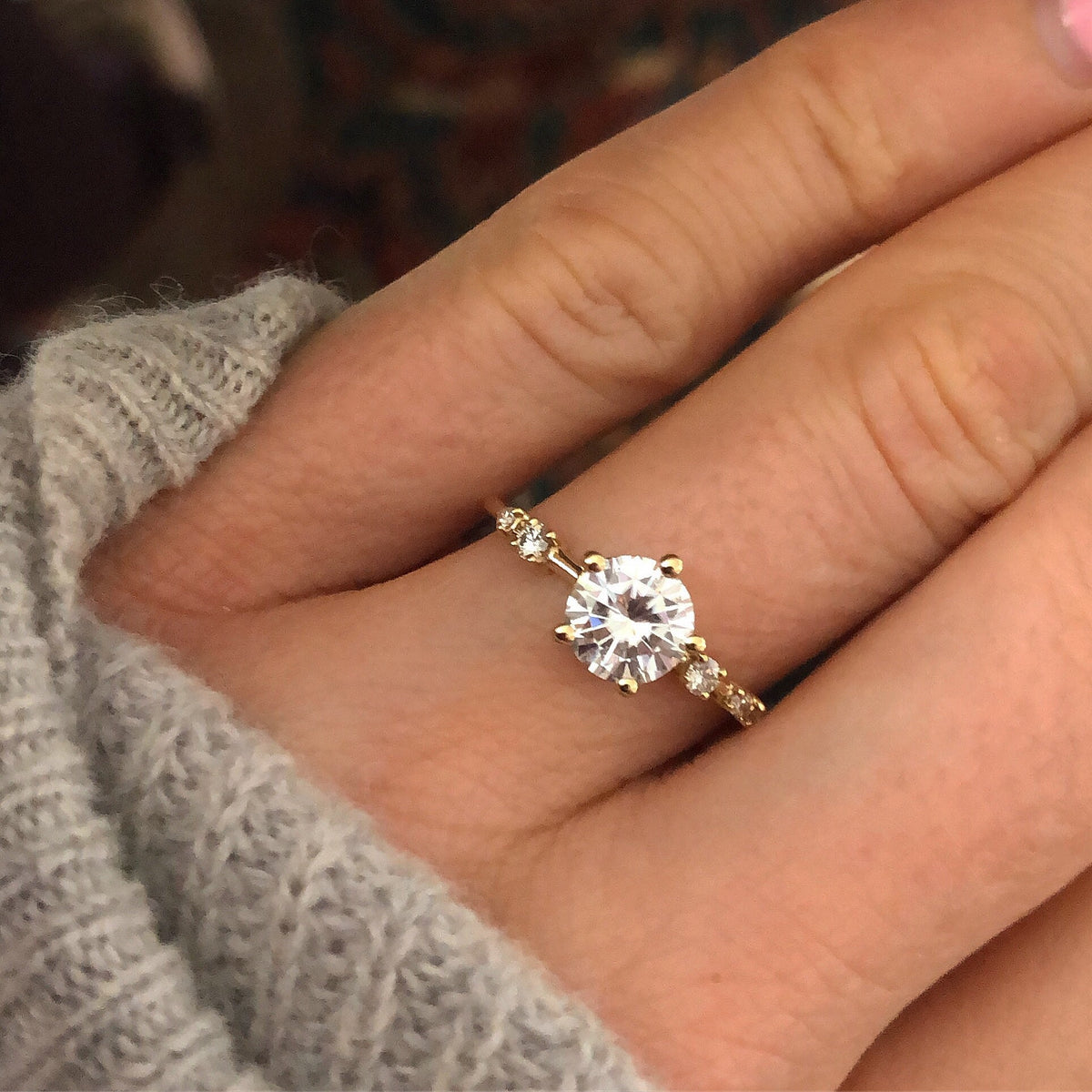 14kt Gold Diamond & Moissanite Spring Waltz Ring