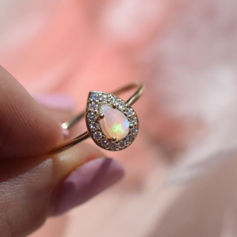 14kt Opal & Diamond Regal Droplet Ring