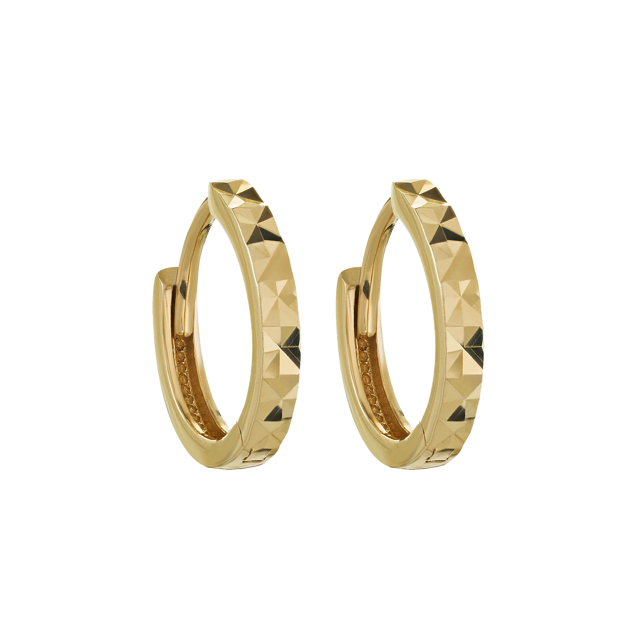 14kt Diamond Cut Mini Hoops