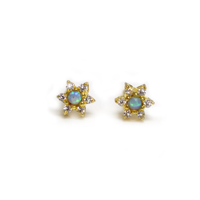 Blue Opal & Diamond Daisy Studs