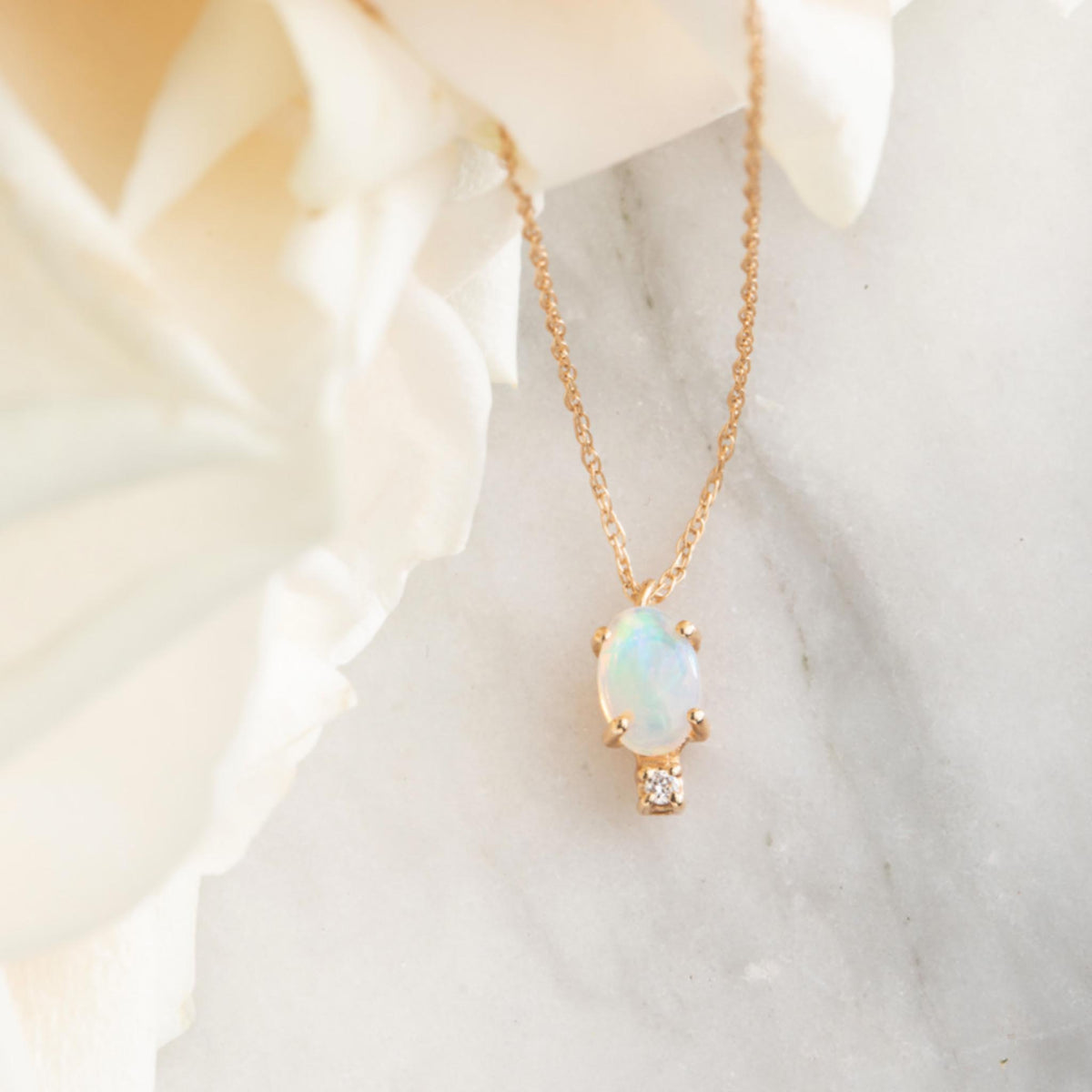 14kt Opal and Diamond Droplet Pendant