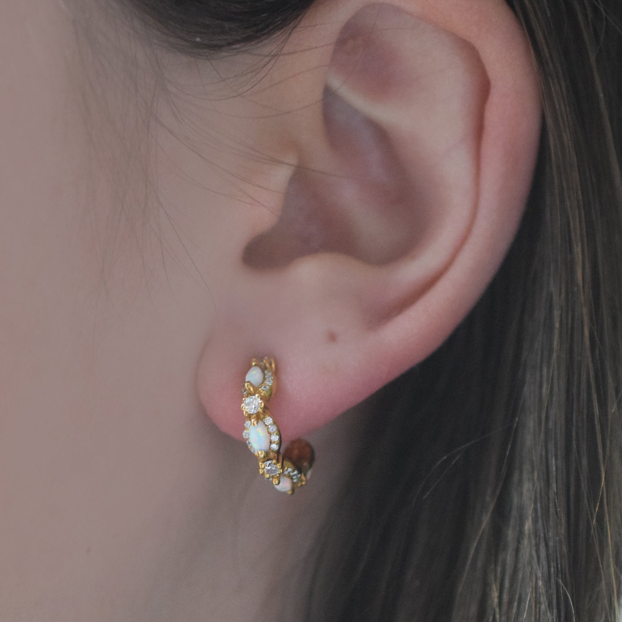 Mini Opal & Diamond Marquis Hoops