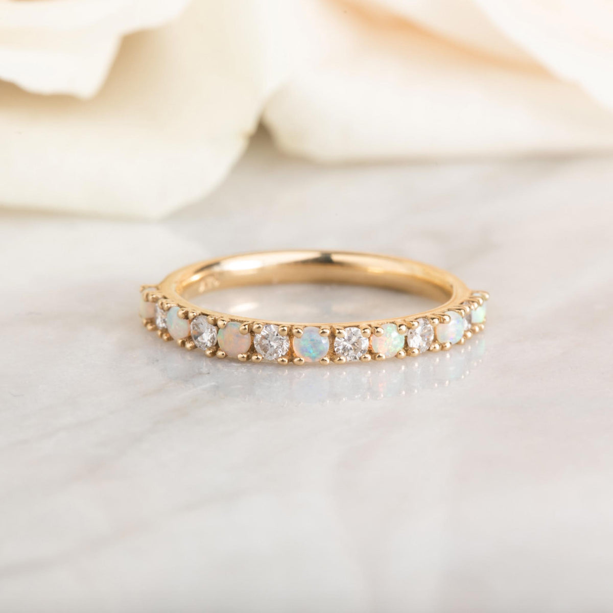 14kt Opal and Diamond Half Eternity Band