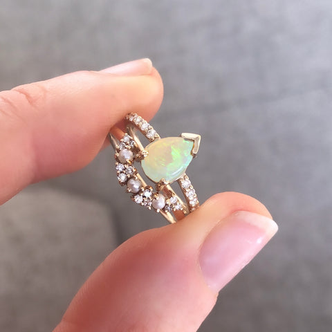 14kt Opal and Diamond Angels Drop Ring
