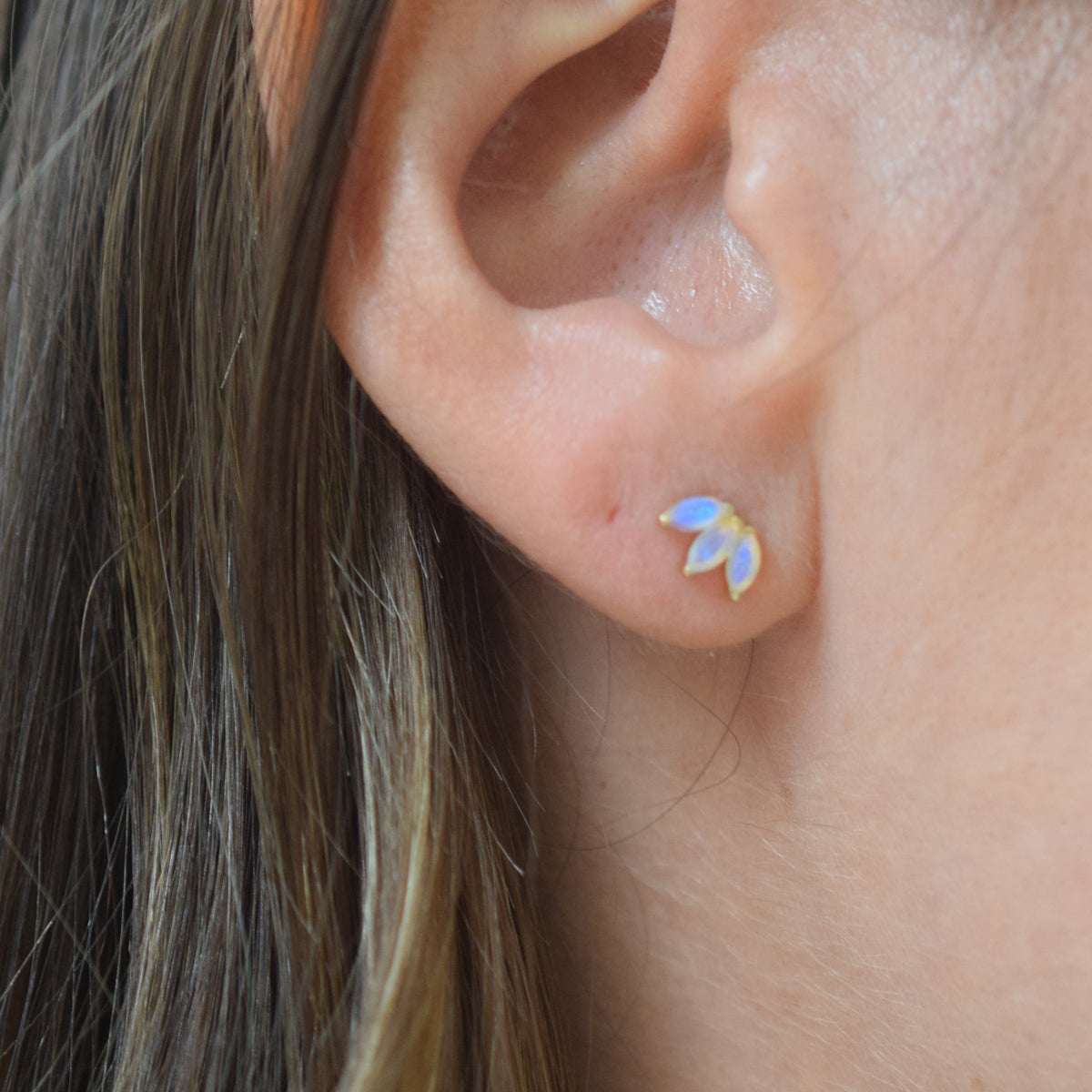 14kt Gold Opal Lotus Studs