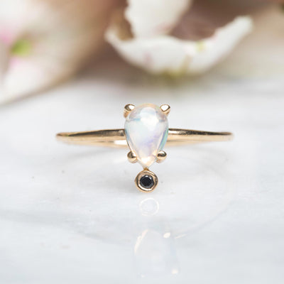 14kt Opal and Black Diamond Pear Ring