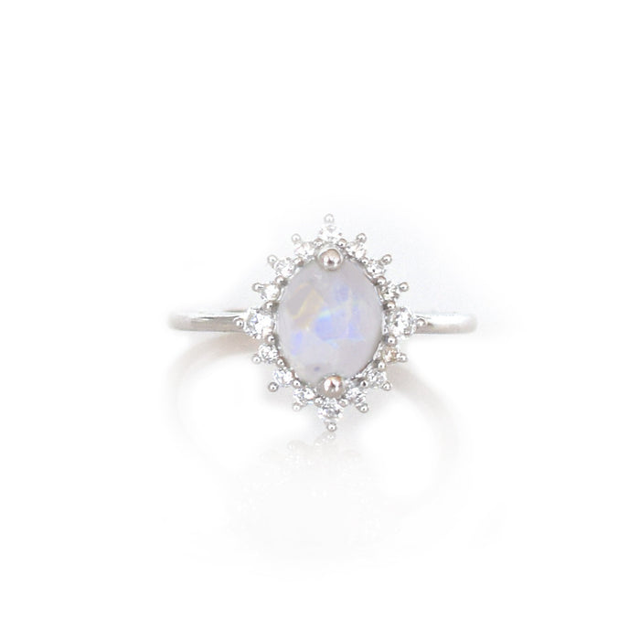 Sterling Silver Rainbow Moonstone & Diamond Flower Burst Ring
