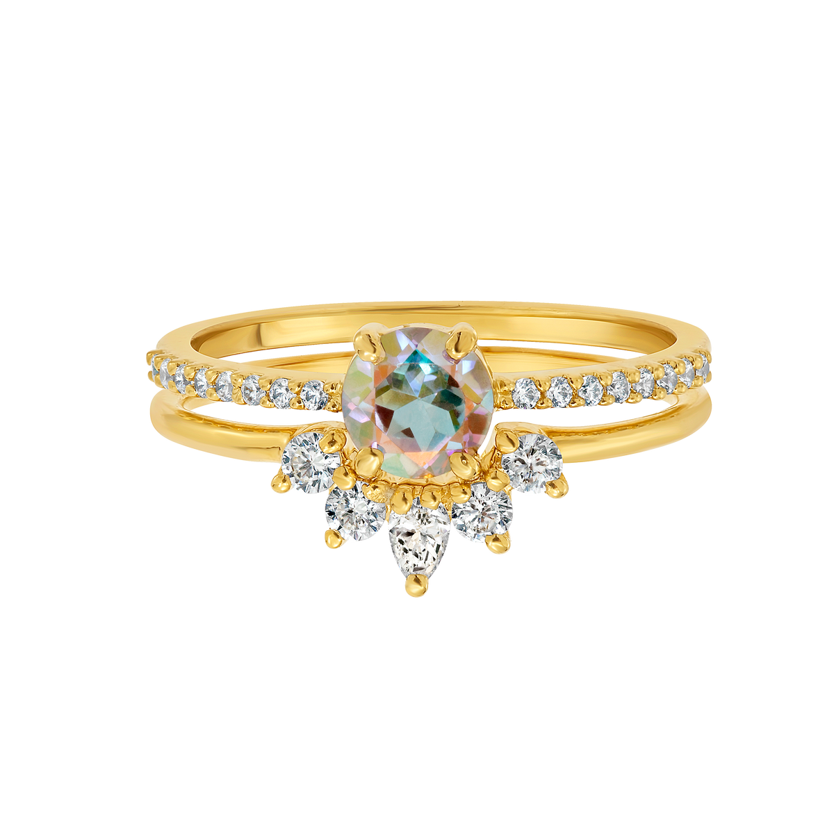 Opalescent Topaz Dancing Fairy Ring Set