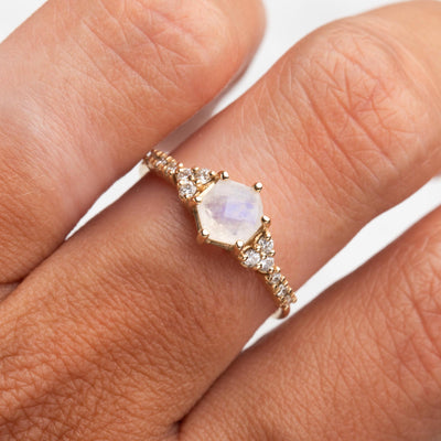14kt Rainbow Moonstone and Diamond Amore Ring