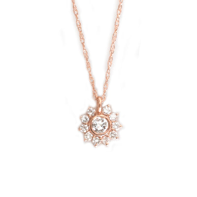 14kt Rose Gold Diamond Sunflower Pendant