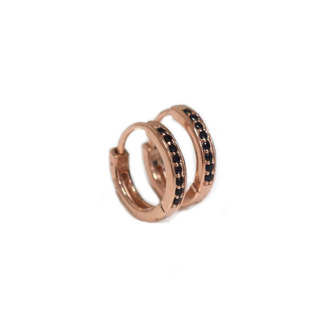 Rose Gold Mini Black Diamond QT Hoops