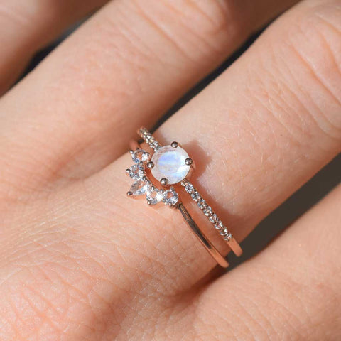 Rose Gold Rainbow Moonstone & Topaz Dancing Fairy Ring Set