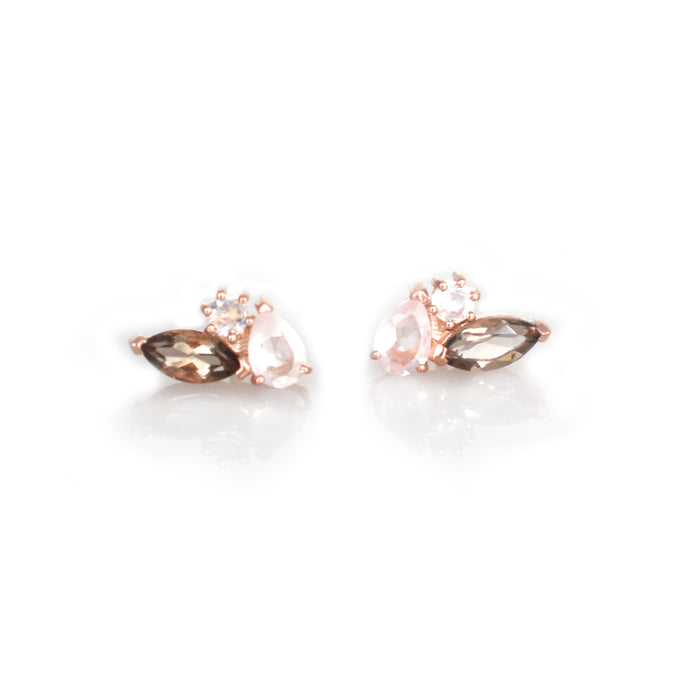 Rose Gold Smoky Quartz & Moonstone Sweet Pea Studs