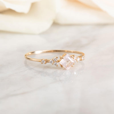 14kt Rose Quartz and Diamond Comet Ring