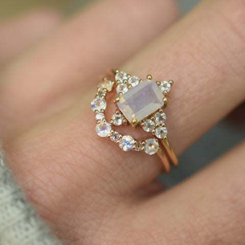 Rose Gold Rainbow Moonstone & Topaz Arc Ring