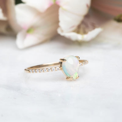 14kt Opal and Diamond Angels Tear Drop Ring