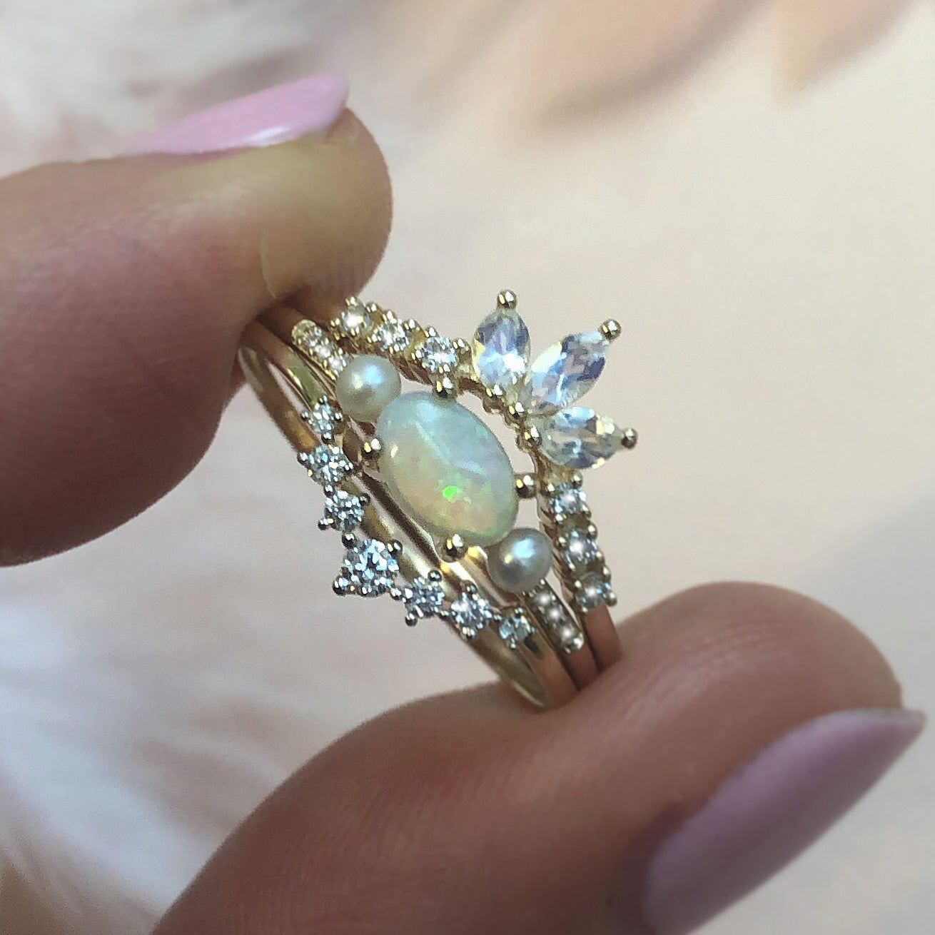 14kt Opal, Diamond and Pearl Hint of Vintage Ring