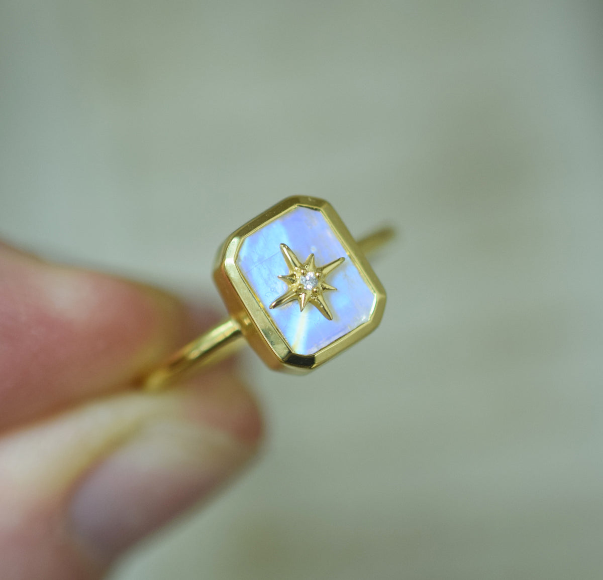 Rainbow Moonstone & Diamond Wish Upon A Star Ring