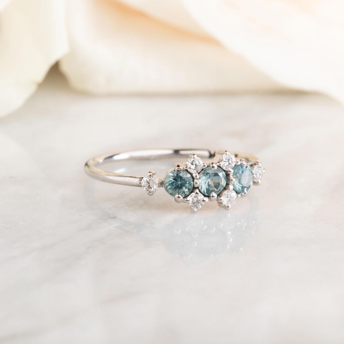 14kt White Gold Teal Sapphire & Diamond Fantasy Ring
