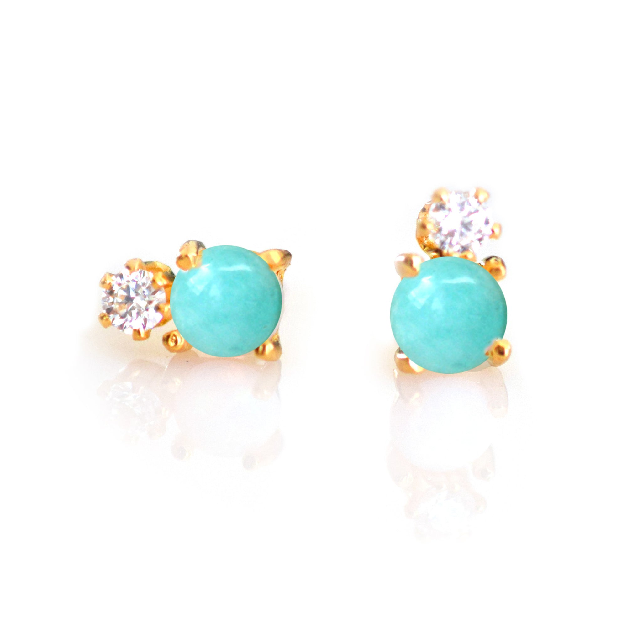 Turquoise and Diamond Doublet Studs