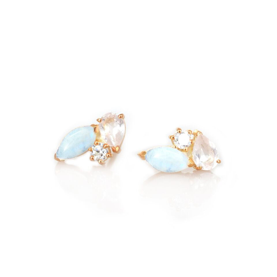 Rainbow Moonstone, Rose Quartz & Diamond Sweet Pea Studs