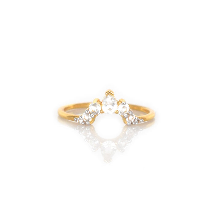 White Topaz Angels Arc Ring
