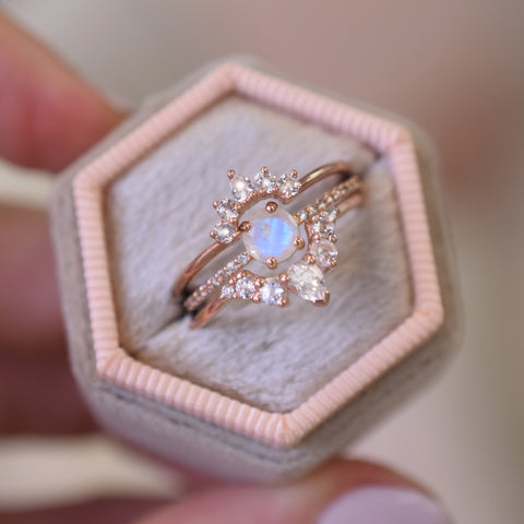 Rose Gold Vermeil Ultimate Topaz & Moonstone Stacking Set