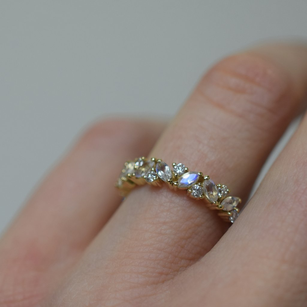 Rainbow Moonstone and Diamond Woodland Dream Ring