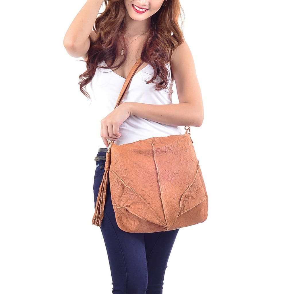 Annie Oakley Light Tan Shoulder crossbody  Bag by Mary and Marie - maryandmarie