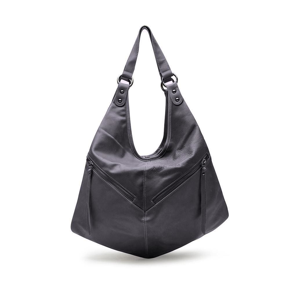 Nikita Gray Leather Backpack  / Slouch Bag by Mary and Marie - maryandmarie