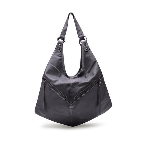 Nikita Gray Leather Backpack  / Slouch Bag by Mary and Marie - Mary + Marie