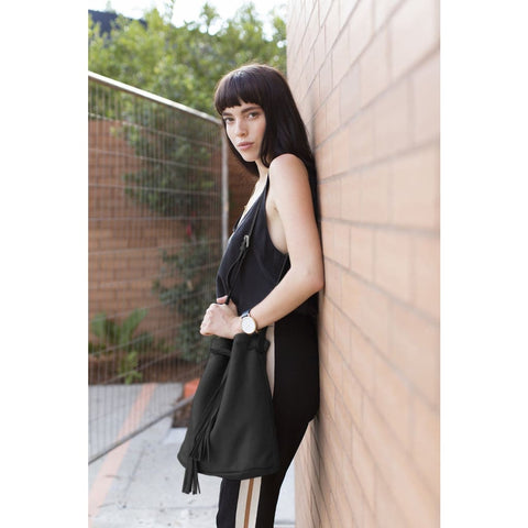 The Black Bucket/Shoulder Bag - Mary + Marie
