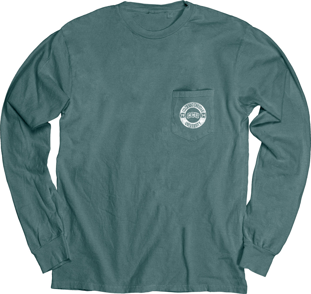 Blue 84 Dyed Ringspun Long Sleeve W/Pocket, Teal