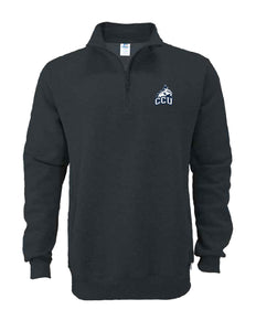 Russell Men's 50/50 Fleece 1/4 Zip Cadet, Black Heather