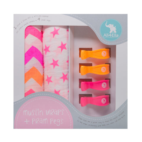 muslin gift set with pram pegs