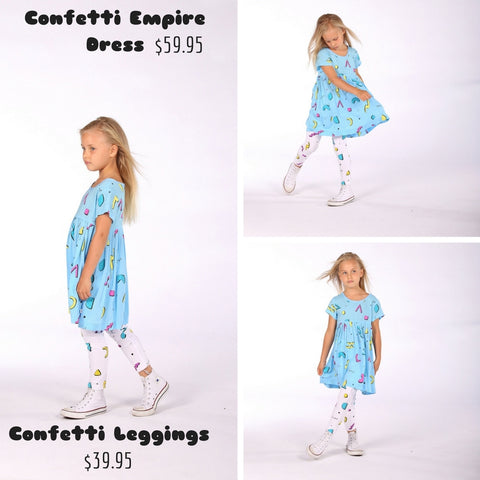 Little Horn confetti dress with matching leggings