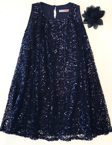 One red fly navy sparkle dress navy sequin dress