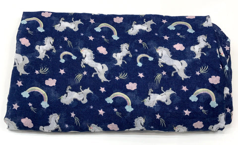 Unicorn and rainbow muslin wrap