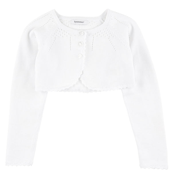 3 Pommes white cropped cardigan