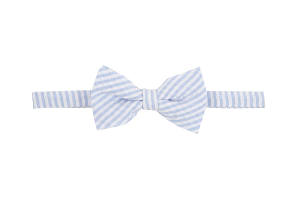 Andy and Evan blue and white stripe seer sucker bowtie
