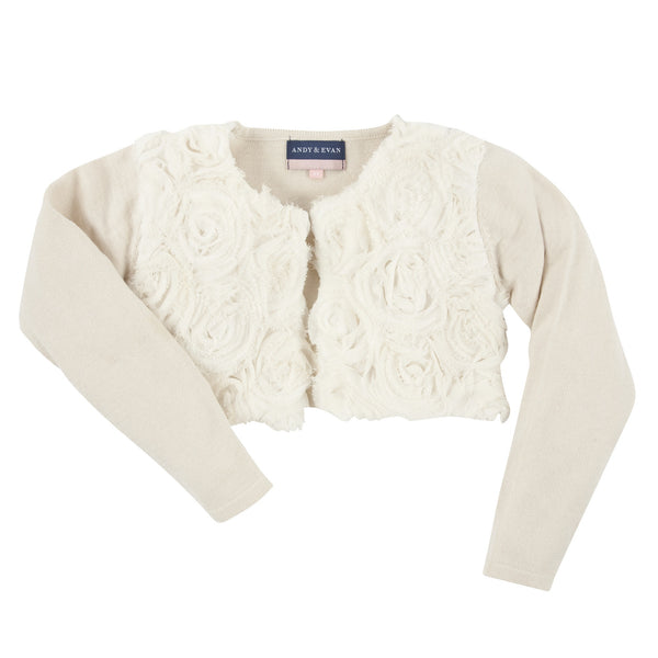 Andy and Evan girl The Cha cha cream bolero cardigan