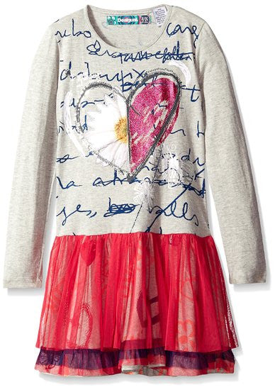 Desigual Abuy grey with pink tulle dress