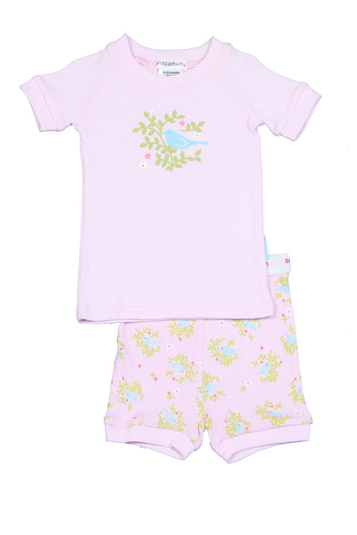 Snugglebum Bird pink short john pyjamas