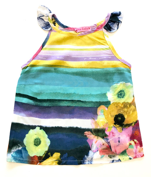 Bright floral summer dress with frill on shoulders