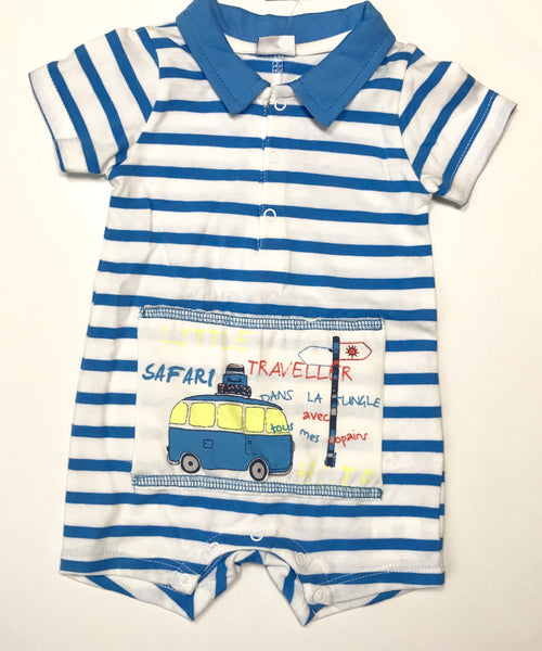 3 Pommes blue stripe safari romper