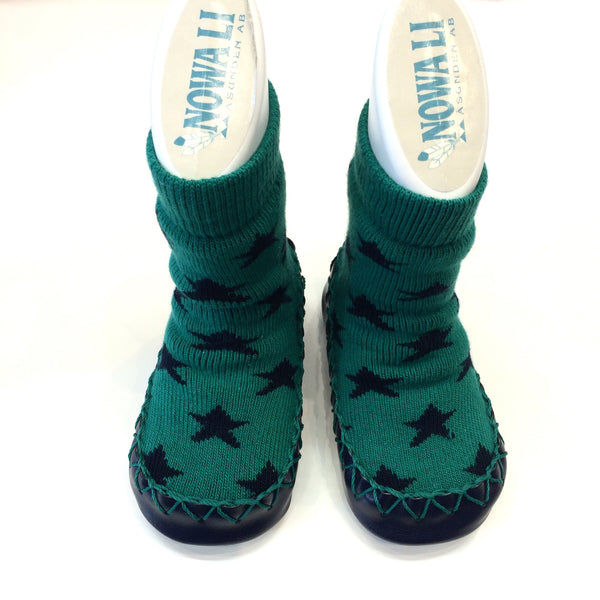 Nowali Moccasins green with navy stars